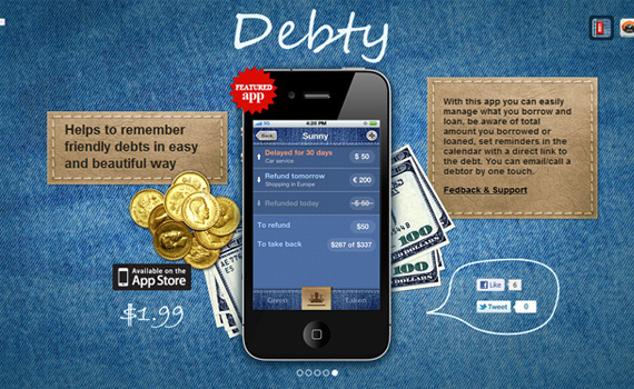 Debty-iphone-app-web-design-inspiration