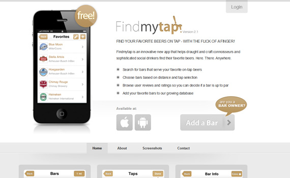 Findmytap-iphone-app-web-design-inspiration