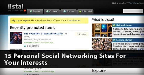 15 Personal Social Networking Sites For Your Interests