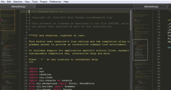 Sublime Text interface