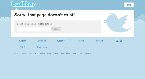 The 404 Error Page of Twitter