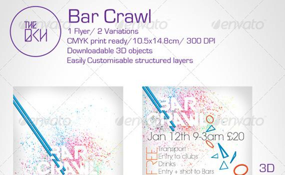 issp template - bar crawl premium print ready flyers