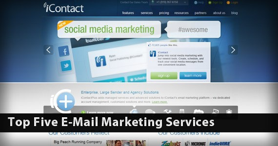 Top Five E-Mail Marketing Services
