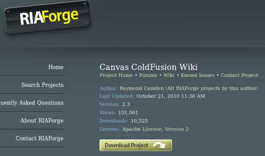 Canvas ColdFusion Wiki