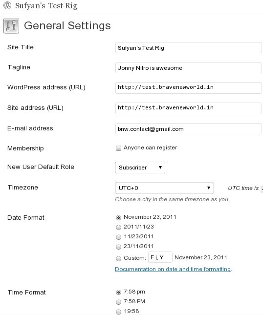 WordPress Settings Page