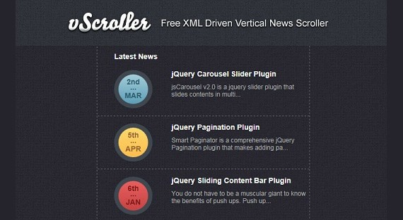 Xml Driven Vertical News Scroller Script Using html and jQuery vScroller