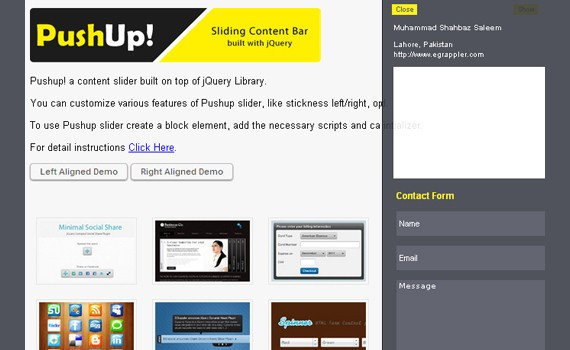 jQuery Sliding Content Bar Plugin: PushUp Content