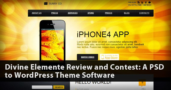 Divine Elemente Review and Contest: A PSD to WordPress Theme Software