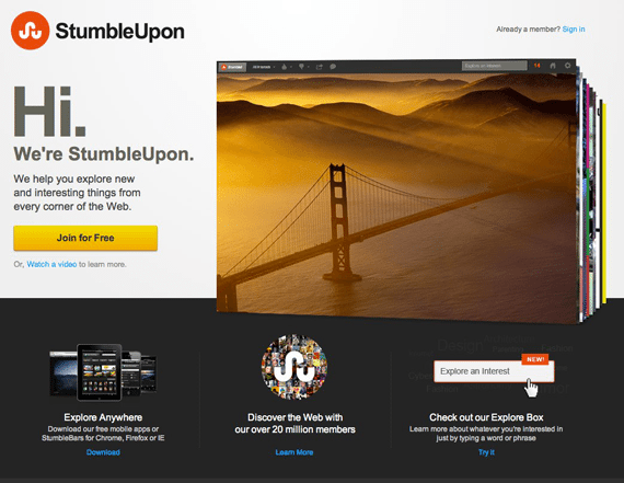Stumbleupon inspirational minimal landing pages