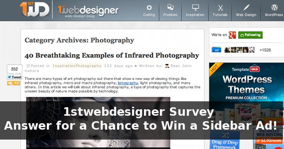 1stwebdesigner Survey – Answer To Win 1 of 3 1WD Sidebar Ads For A Month!