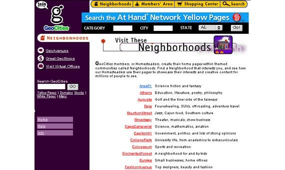 கணினி-இணைய -செய்திகள் Geocities-neighborhoods-social-network
