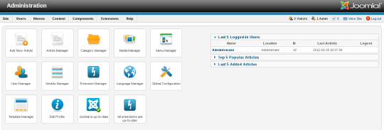 Admin Dashboard in Joomla 2.5