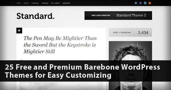 25 Free and Premium Barebone WordPress Themes for Easy Customizing