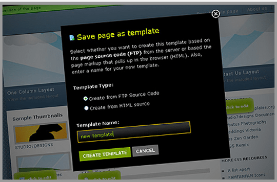Saving Pages as Templates