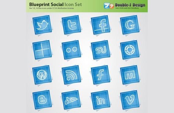 Free Blueprint Social Media Icons