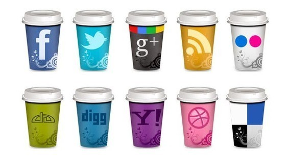 "Set of Social Icons ""Takeout Coffee Cup"""
