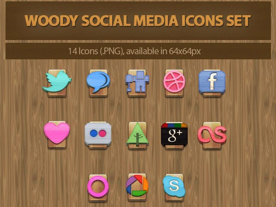 Woody Social Media Icons Set