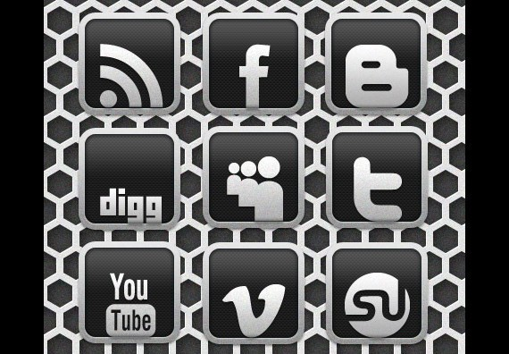 Carbon Chrome Social Media Icon Set