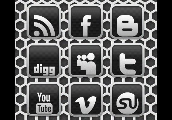 Carbon Chrome Social Media Icon Set