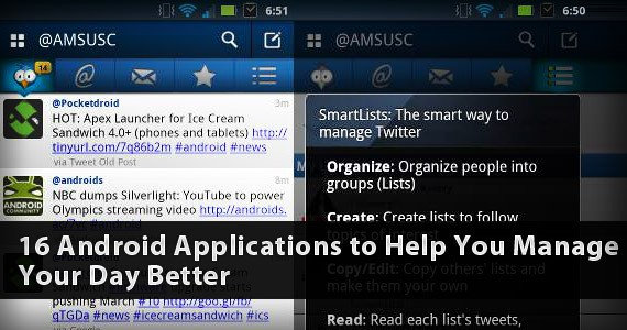 16 Android Applications to Help You Manage Your Day Better