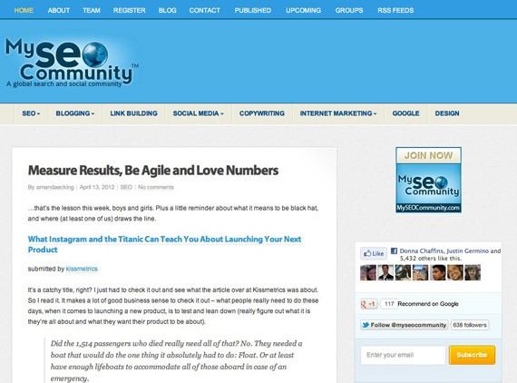MySEOCommunity blogs read