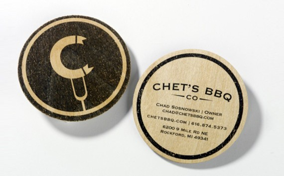 Chet's BBQ ID and business card