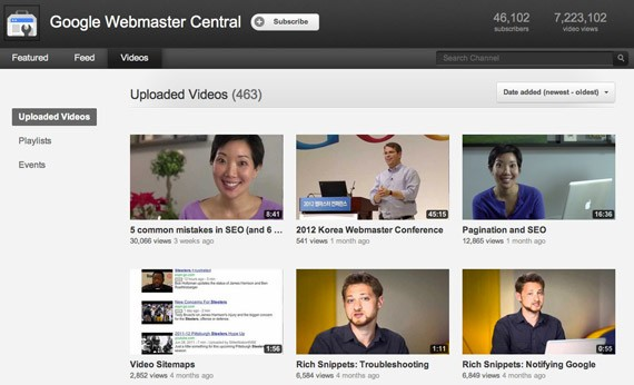 Google webmaster central youtube