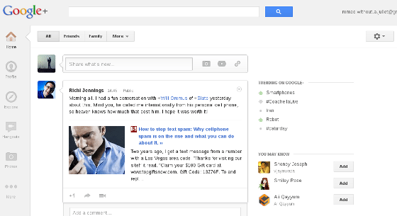 The new G+ Layout