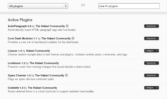 Habari is backed by several community driven plugins