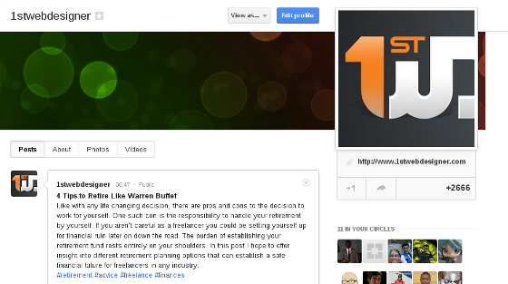 Profile in G+ with Cover Image