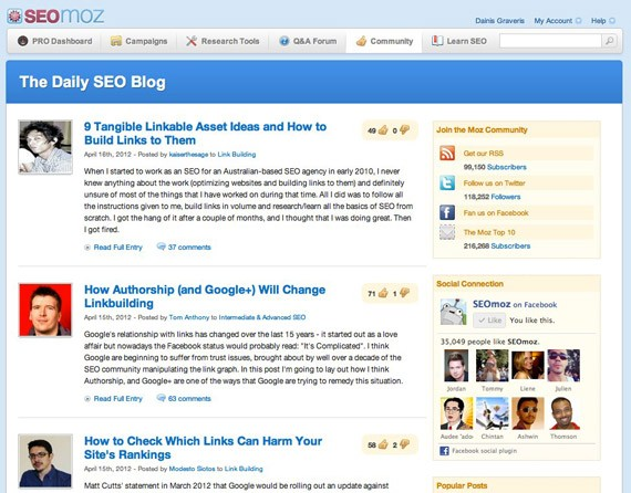 Seomoz blog
