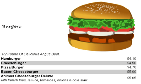 18-Animus Take Out Menu in PHP