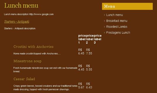 28-Restaurant Menu Script