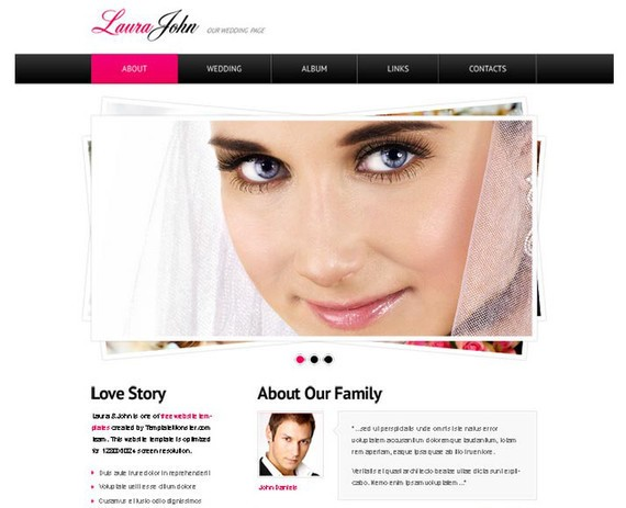 Free Wedding Website Template with jQuery Slider