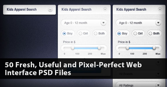 50 Fresh, Useful and Pixel-Perfect Web Interface PSD Files