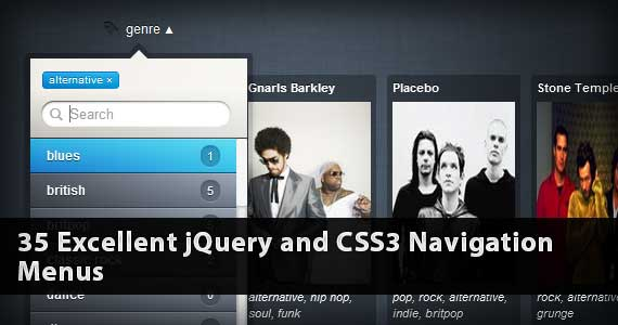 35 Excellent jQuery and CSS3 Navigation Menus