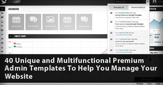 40 Unique and Multifunctional Premium Admin Templates To Help You Manage Your Website
