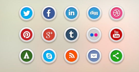 15 free social media icons (PSD & PNG)
