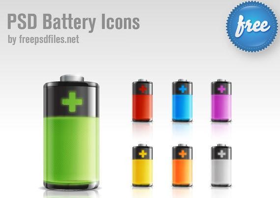 Battery Icon PSD ফ্রী ডাউনলোড করুন High Quality চমৎকার কিছু Icons পিএসডি Format-এ