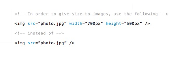 Width and height to images