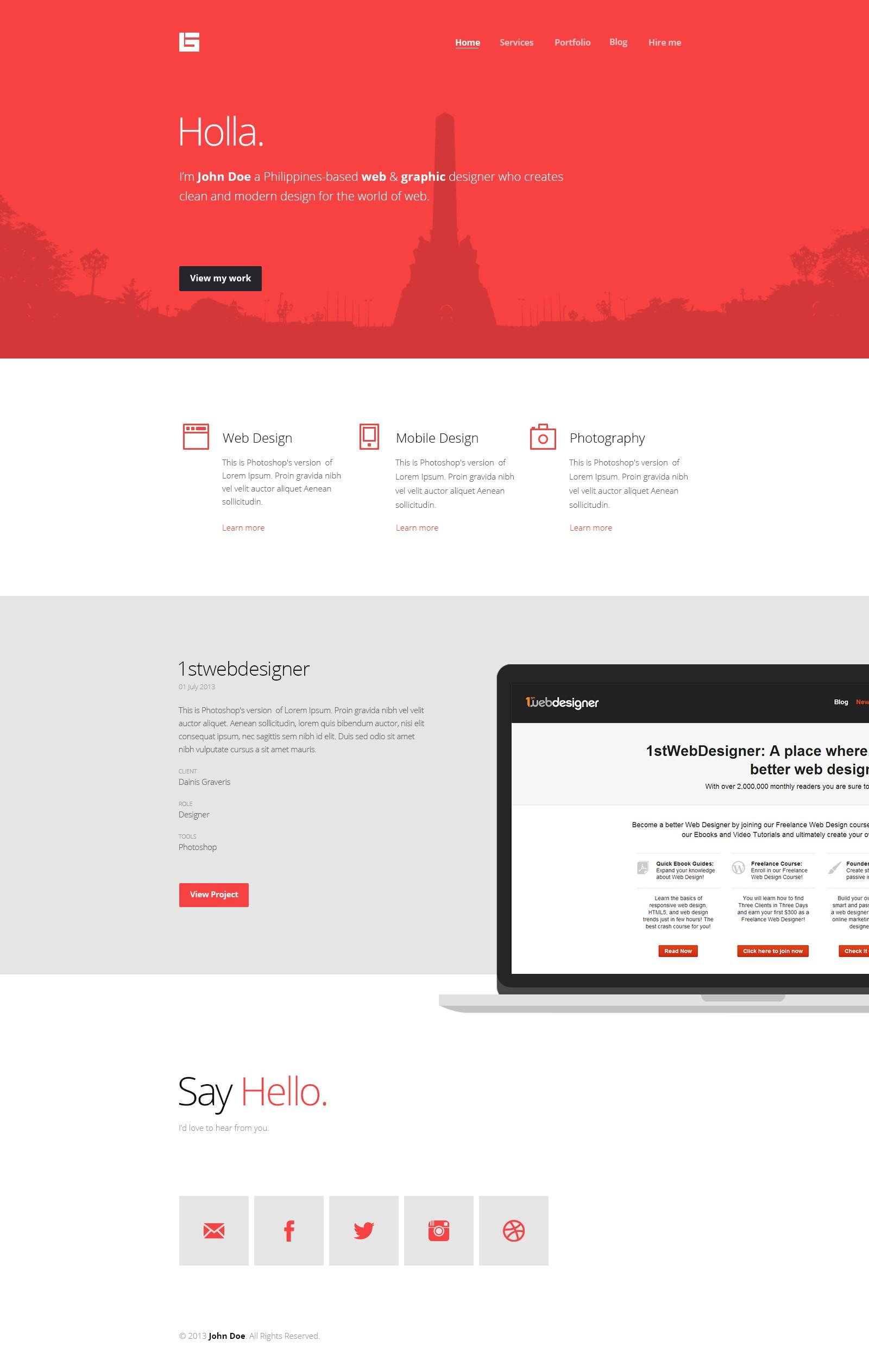 Flat Web Design Tutorial Portfolio Landing Page Idevie