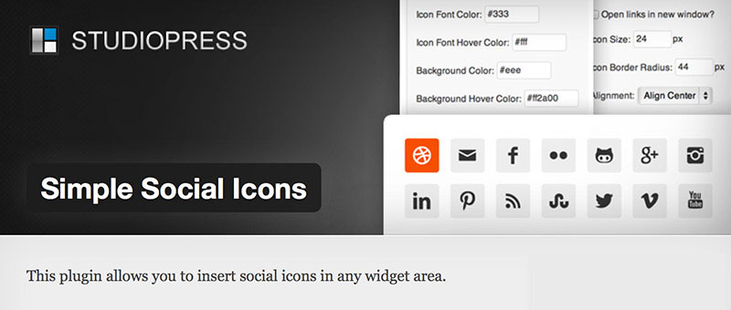 Simple Social Icons the most popular StudioPress plugin with 398,359 downloads