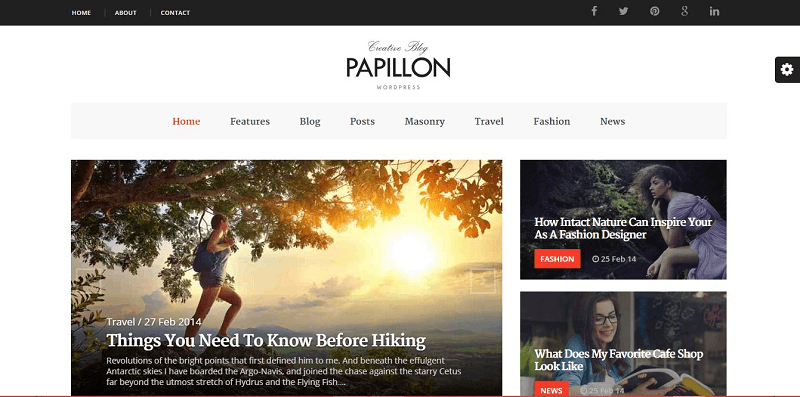 Papillon Creative WordPress Blog Theme
