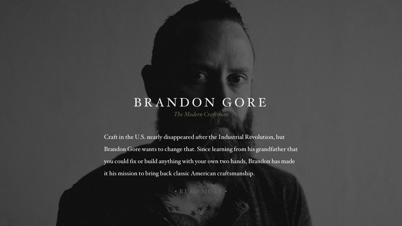 Brandon Gore is a great example of the previously discussed Personal Branding trend combined with One Page design philosophy.