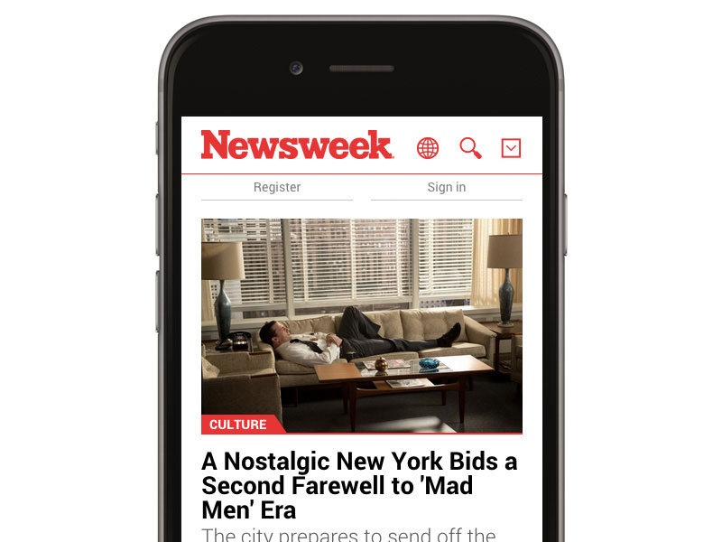 Newsweek is a great example of heavy content website that looks organised and lightweight on mobile device.
