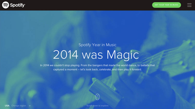 One page layouts are popular among yearly reviews like Spotify's Year in Music as it allows a natural timeline of the year in an easy to browse manner.