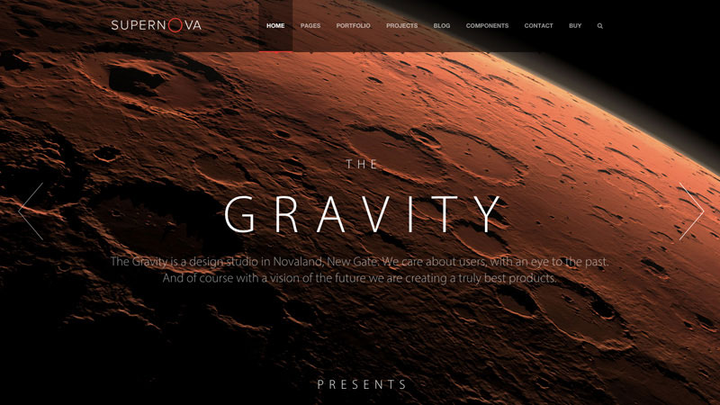 Supernova is a multi-purpose theme with innovative and state-of-art techniques and design features such as transparent menus and elements, parallax effects, motion backgrounds and more.