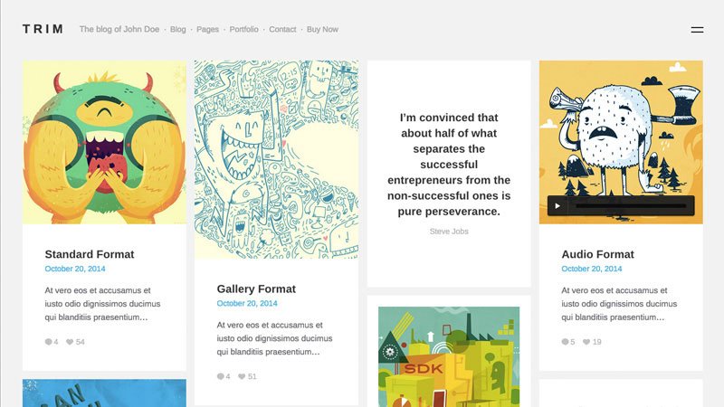 Trim is a notably sleek and tidy WordPress blog and portfolio theme built using grid.