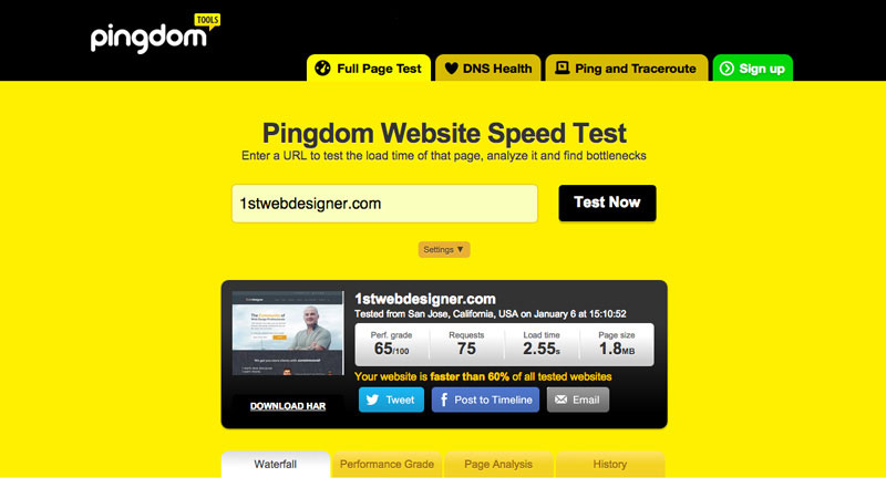 Website speed test by Pingdom analyses how your website loads from different places in the world.