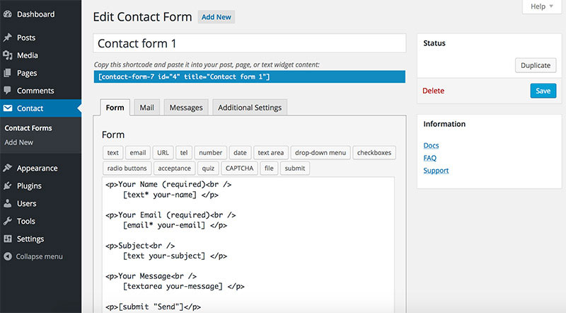 Simple, yet flexible contact form plugin.